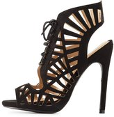 Charlotte Russe Qupid Laser Cut Lace-Up Dress Sandals