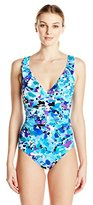 Caribbean Joe Women's Under A Spell V-Neck Ruffle Maillot One Piece Swimsuit