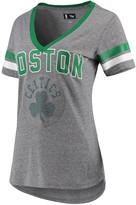 G Iii Women's G-III 4Her by Carl Banks Gray/Kelly Green Boston Celtics Walk Off Crystal Applique Logo V-Neck T-Shirt