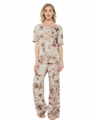 Awesome 360 Women's Printed Pajamas Set Short Sleeve Top and Pants 2 Piece Lounge PJ Sets Loose Nightwear