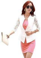 Vogholic Women's Fashion Solid Color Slim Fit Lace Seamed Suits Blazer(White,M)