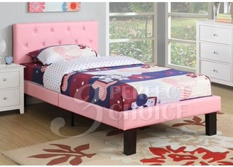 Poundex Upholstered Platform Bed, Twin, Multiple Colors