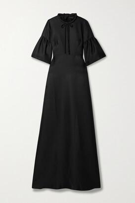 Reem Acra Tie-neck Mikado-pique Gown - Black