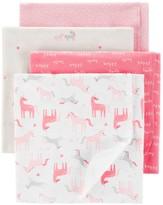 Carter's Baby Girl 4 Pack Unicorn Blankets
