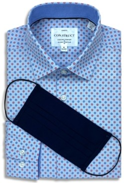 Construct Receive a Free Face Mask with purchase of the Con. Struct Men's Slim-Fit Non-Iron Performance Stretch Blue Mini Flower Cooling Comfort Dress Shirt