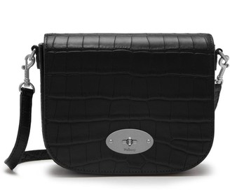 Mulberry Small Darley Satchel Black Matte Croc