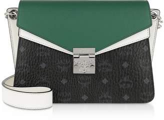 MCM Mezzanin Visetos Leather Block Medium Shoulder Bag