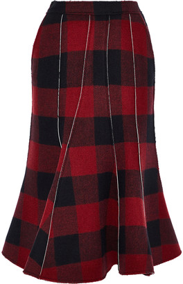 pushBUTTON Fluted Gingham Wool-blend Flannel Midi Skirt