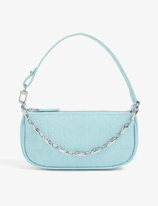 BY FAR Mini Rachel crocodile-embossed leather shoulder bag
