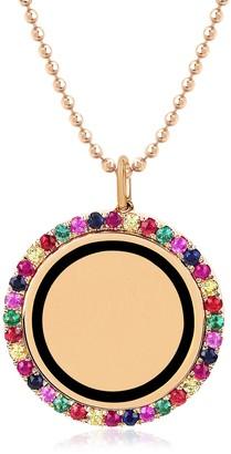 Ef Collection 14K Rose Gold Pave Rainbow Stones & Black Enamel Round Pendant Necklace