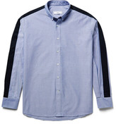 Ami Button-Down Collar Twill-Panelled Cotton Oxford Shirt