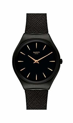 Swatch Men's Swiss Quartz Watch with Real Leather Strap