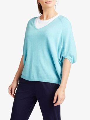 NRBY Gail Cotton and Cashmere Blend V-Neck Sweater