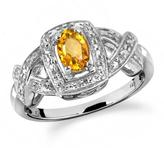 1/2 CT TW Oval-Shaped Citrine Silver Halo Ring with Diamond Accents by JewelonFire