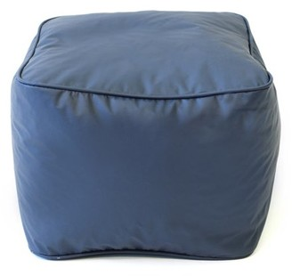 """Gold Medal Small 15"""" Navy Blue Faux Leather Ottoman"""