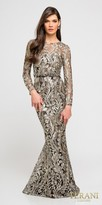 Terani Couture Long Sleeve Sheer Embroidered Trumpet Evening Dress