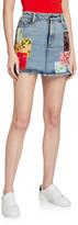 Alice + Olivia Jeans Good High-Rise Mini Skirt w/ Patchwork