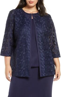 Ming Wang Lace & Knit Jacket