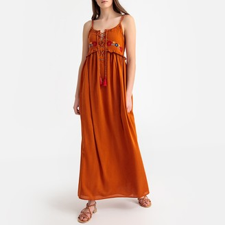 Kaporal Embroidered Cotton Mix Maxi Dress with Tassels