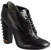 Fendi black leather pyramid stud heel oxford booties