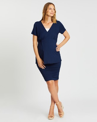 Angel Maternity Wrap Nursing Top & Ruched Skirt Work Outfit