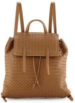 Bottega Veneta Medium Intrecciato Leather Backpack, Camel