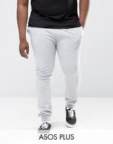 Asos Plus Super Skinny Joggers In Grey Marl