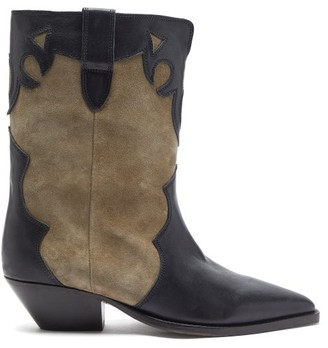 Isabel Marant Duoni Western Leather And Suede Ankle Boots - Black Beige
