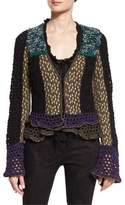 Etro Crochet Ruffled-Trim Jacket, Black