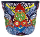 Artisan Crafted Ceramic Talavera Flower Pot from Mexico, 'Talavera Glory'