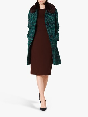 LK Bennett Aster Tweed Faux Fur Collar Coat, Blue/Multi