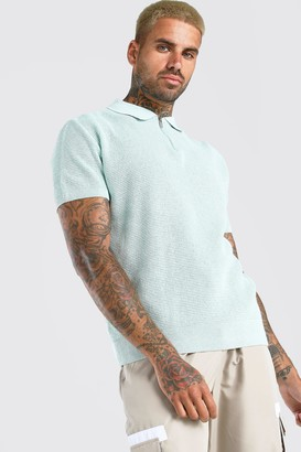 boohoo Mens Green Short Sleeve Knitted Half Zip Polo with Tipping, Green
