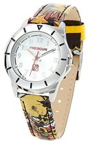 Freegun-all-over multicolore Boy's Quartz Watch with Silver Dial Analogue Display and Leather Multicolour - EE5117