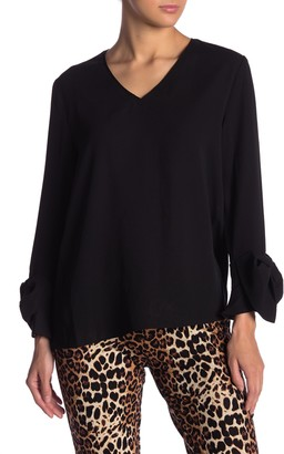 Blvd Solid V-Neck Bow Sleeve Top