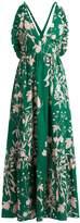 BORGO DE NOR Violeta Weed-print halterneck maxi dress