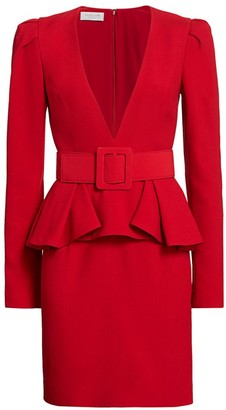 Michael Kors Plunge-Front Belted Peplum Dress