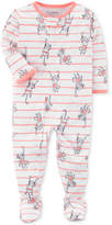 Carter's 1-Pc. Striped Monkey-Print Footed Pajamas, Baby Girls