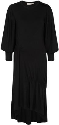 Preen Line Black gathered jersey midi dress