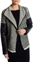 Blvd Faux Leather Panel Cardigan