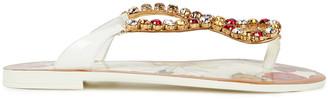 Dolce & Gabbana Crystal-embellished Floral-print Patent-leather Sandals
