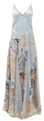 Camilla Fraser Fantasia Godet-insert Silk Slip Dress - Blue Print