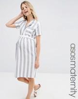 Asos Shirt Dress In Linen Stripe