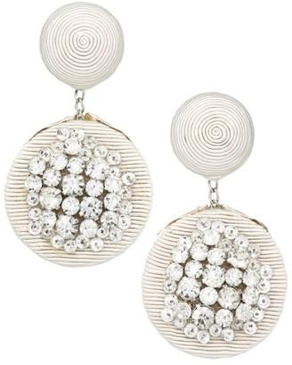 Rebecca De Ravenel Pomegranate Crystal Embellished Clip-On Double Drop Earrings