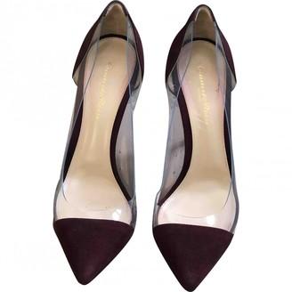 Gianvito Rossi Plexi Burgundy Plastic Heels