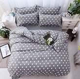 Kids Bedding Set White Spot in Grey Backgroud Pattern Twin/Full/Queen Duvet Cover Set Lightweight Mircofiber Girls/Boys Sheet Sets 4 Pieces - STFLY (Full)