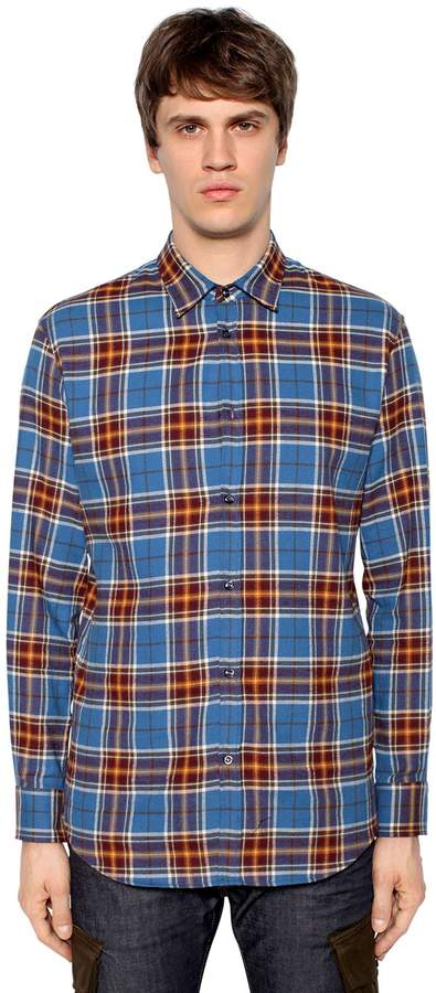 DSQUARED2 Plaid Cotton Flannel Shirt
