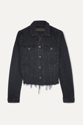 GRLFRND Cara Distressed Denim Jacket - Dark denim