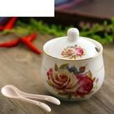 FSHFK cramic Spic jar st/Hand-paintd gold spic box/ uropan-styl kitchn salt MSG box