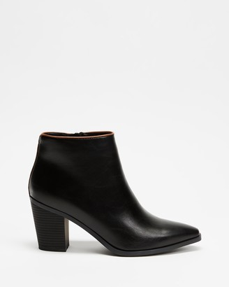 Betsy - Women's Black Heeled Boots - Contrasted Trim Ankle Boots - Size 35 at The Iconic