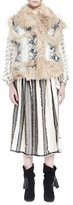 Lanvin Python-Printed Leather Vest with Shearling Fur Trim, White/Black